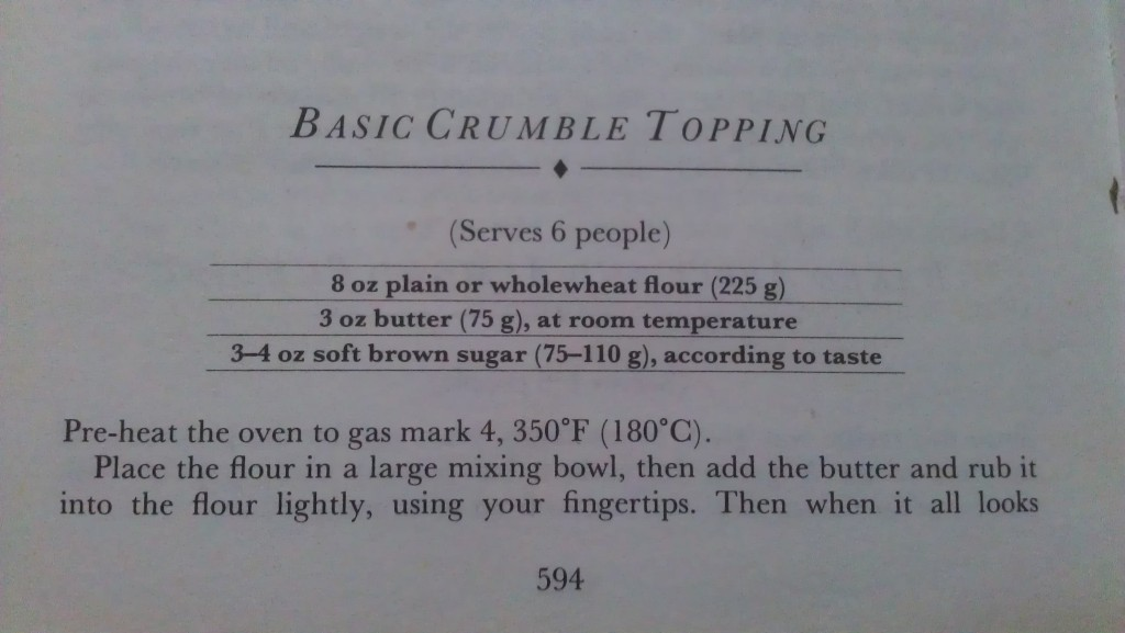 Crumble Recipe Part One