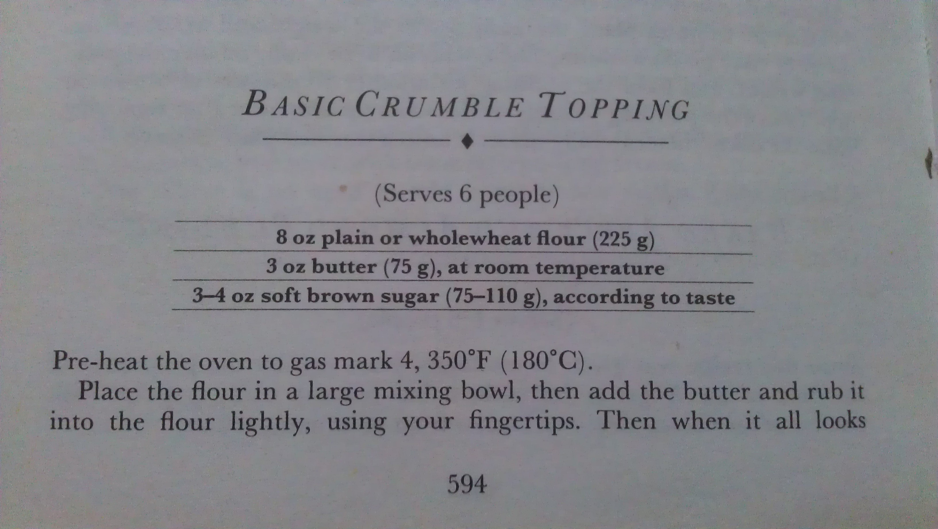 Crumble Recipe Part 1
