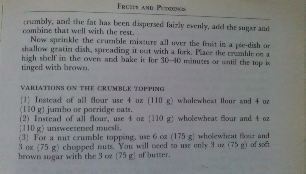Crumble Recipe Part Two